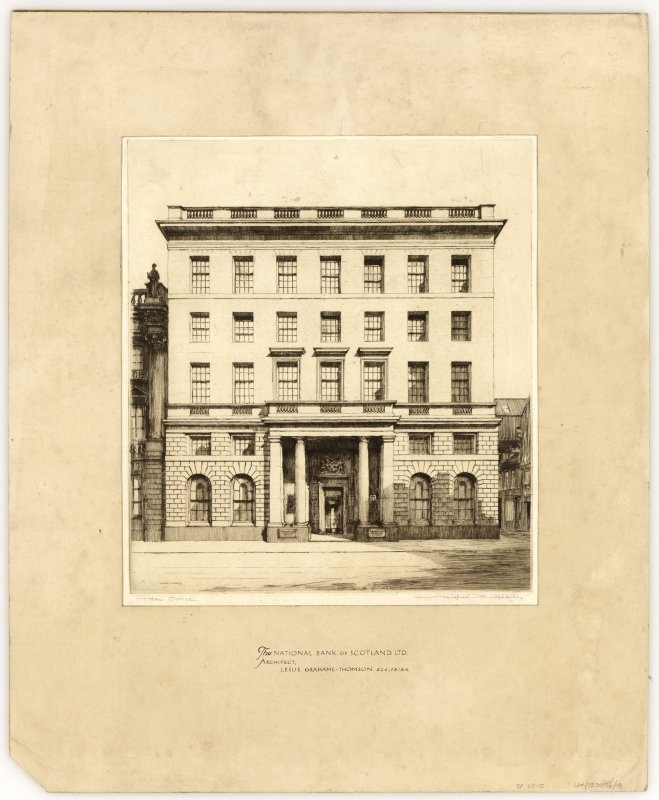 Edinburgh, 42 St Andrew Square, Royal Bank of Scotland. Presentation drawing showing sketch of elevation of St Andrew Square. Title: ' The National Bank of SCOTLAND LTD. Architect, Leslie Grahame Thomson R.S.A., F.R.I.B.A.'   Signed 'Wilfred C Applebey.'