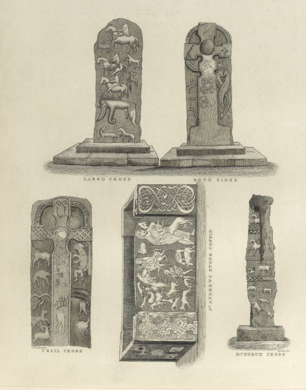 Engraving of assorted pictish carvings.