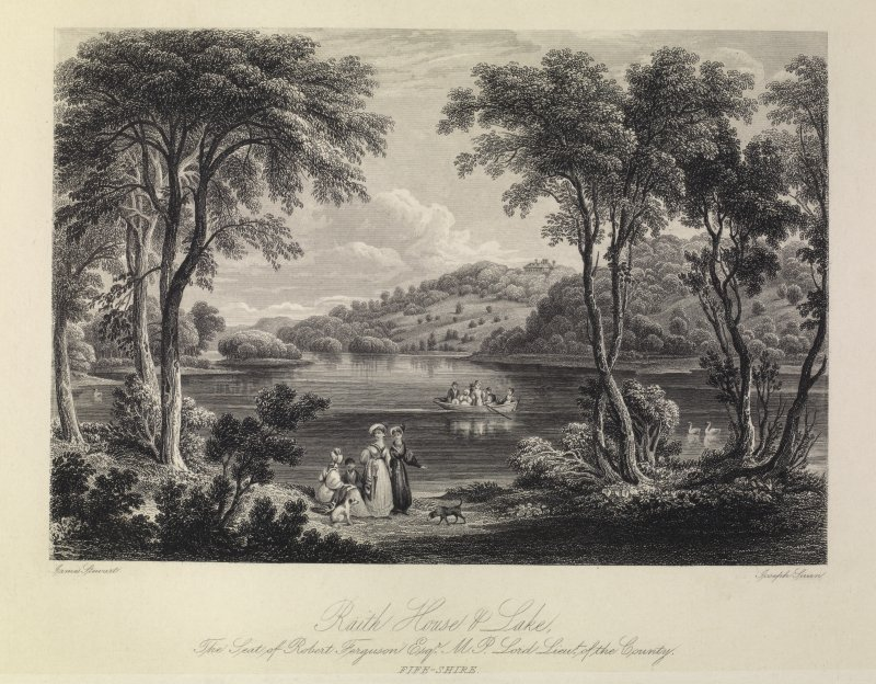Raith House & Lake -  The Seat of Robert Ferguson Esq. MP Lord Lieut of the County. Fife-shire.