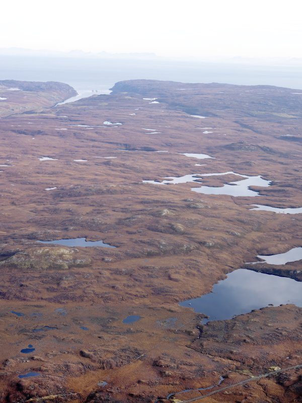 General oblique aerial view, looking towards the remains of the  township of Gravir, on the shores of Loch Odhairn on the E coast of the Isle of Lewis, taken from the WNW.