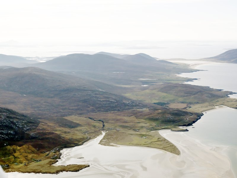 General oblique aerial view Seilibost, Horgabost and the coastal area of Harris along the Sound of Taransay, Harris, taken from the NE.
