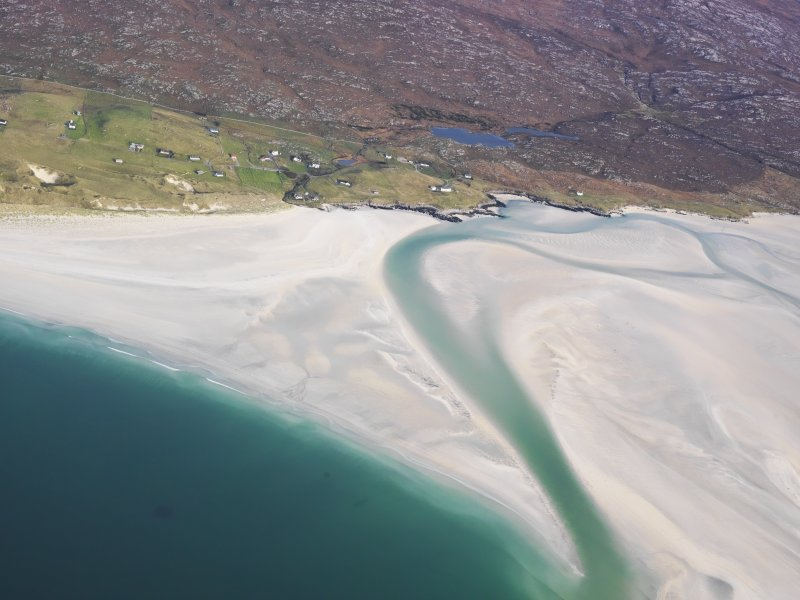 General oblique aerial view of the remains of the township of Luskentyre, with associated field boundaries and lazy beds, in the Sound of Taransay, Harris, taken from the SW.