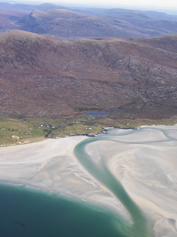 General oblique aerial view of the remains of the township of Luskentyre, with associated field boundaries and lazy beds, at the foot of Beinn Losgaintir, Harris, taken from the SW.