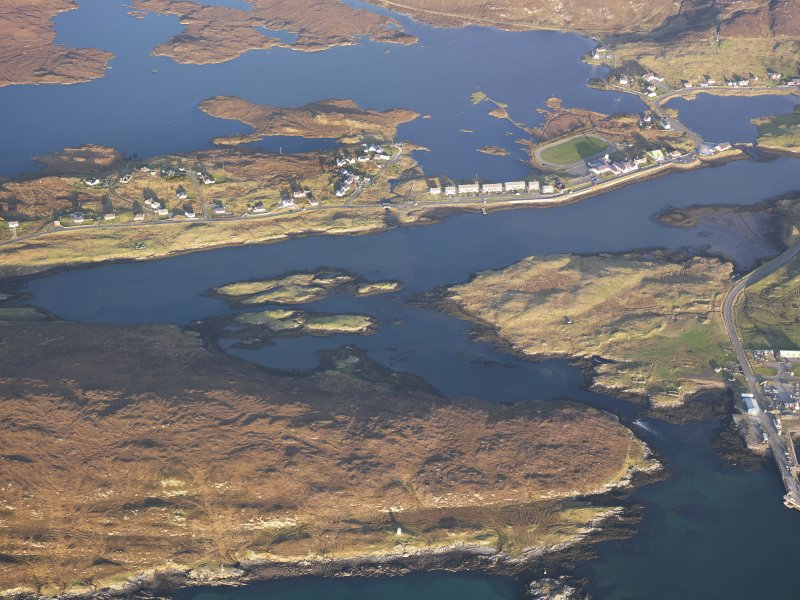 Oblique aerial view of the remains of the fish trap and lazy beds at Leverburgh, Harris, taken from the WSW.