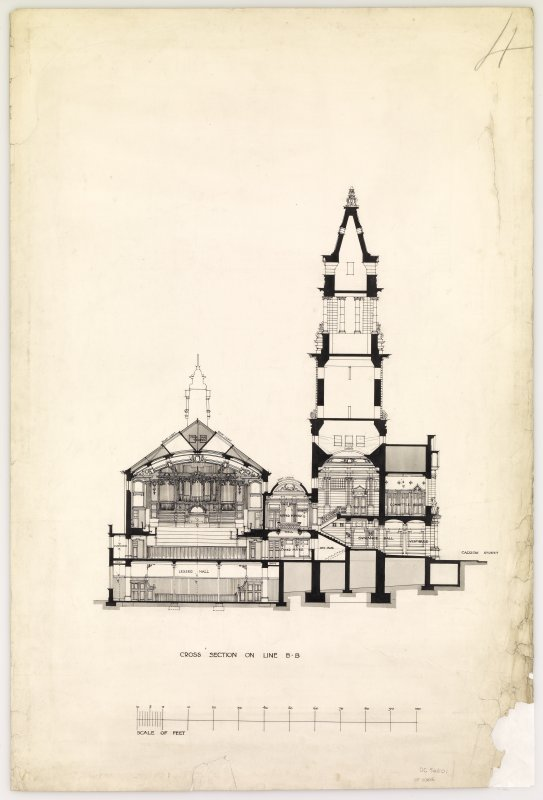 Cross section of Hamilton Municipal Buildings.
