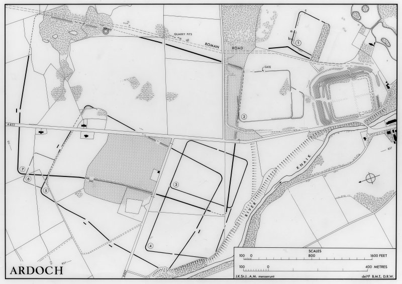 Ardoch - Roman temporary camps. General plan. Revised version of DC 37227. Signed: 'JKStJ . AM menserunt: delnt. BMT.DRW'