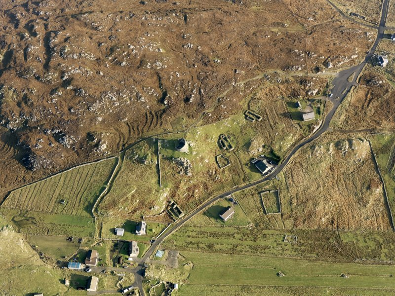 Oblique aerial view of Dun Carloway, taken from the W.