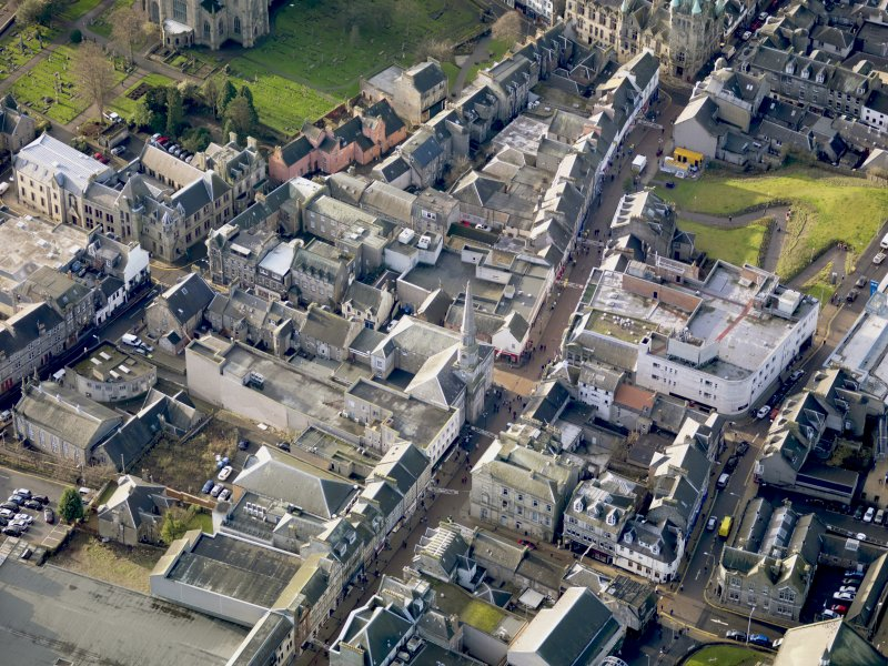 Oblique aerial view of Abbot's House Dunfermline, taken from the NE.