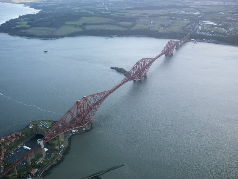 Oblique aerial view of the Forth Railway Bridge, taken from the NW.