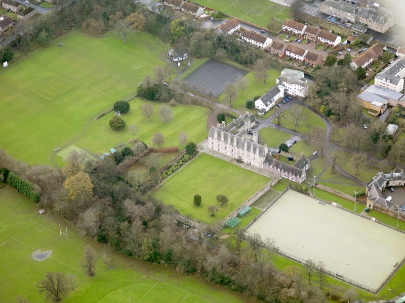 Oblique aerial view of Pinkie House, taken from the NE.