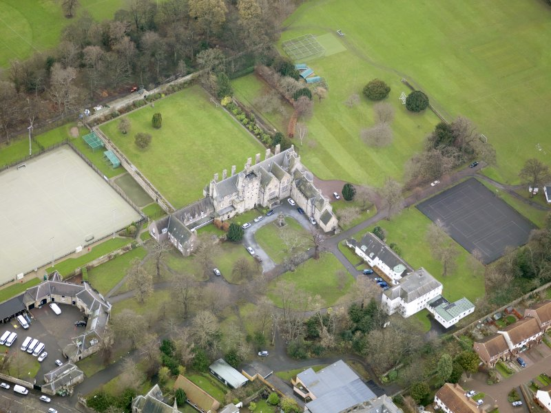 Oblique aerial view of Pinkie House, taken from the NW.