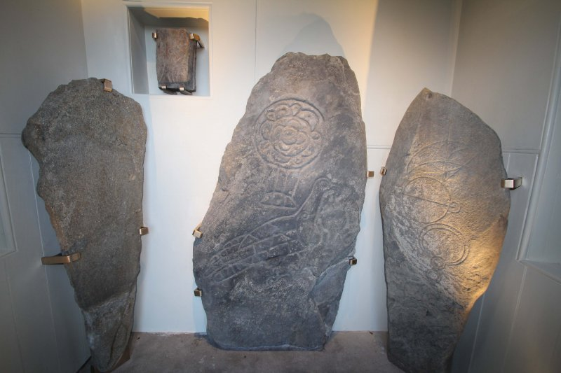 The Inveravon Pictish Symbol Stones, relocated inside the church porch