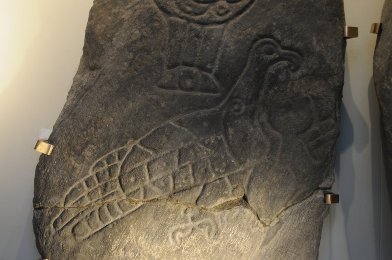 Detail of the eagle symbol, Inveravon Pictish Symbol Stone 1, relocated inside the church porch