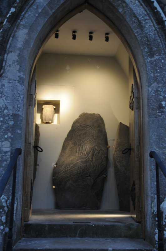 Inveravon Pictish Symbol Stones, relocated inside the church porch