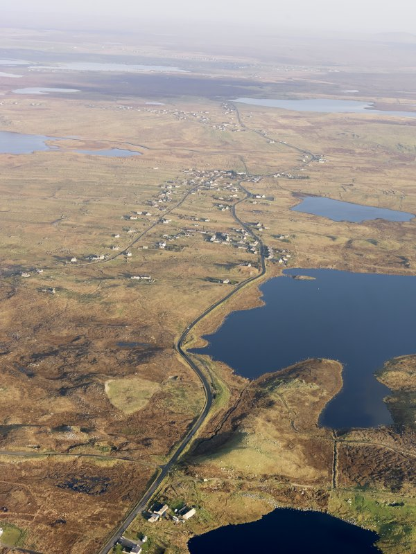 General oblique aerial view of Bragar with Loch an Duna adjacent, taken from the WSW.