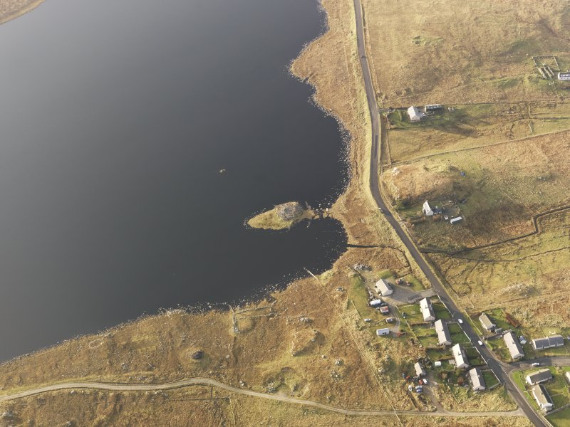 Oblique aerial view of the broch in Loch an Duna, taken from the ESE.