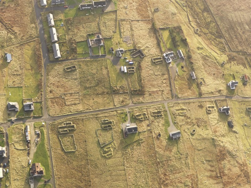 Oblique aerial view of the buildings at Arnol, taken from the N.