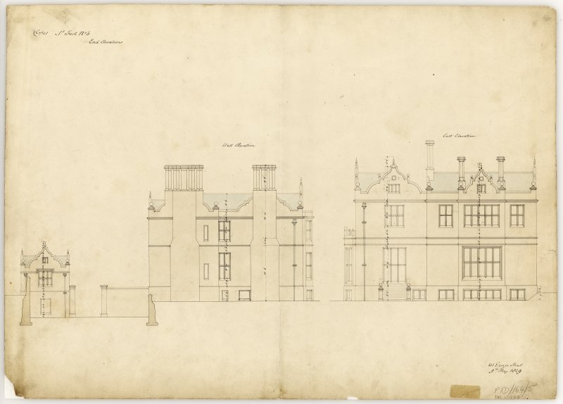 Elevations showing East and West ends of building.  Title: St Fort Street No. 5, End Elevations