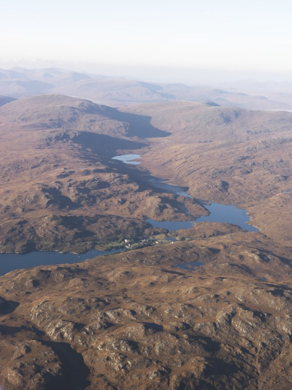General oblique aerial view of Eisgein, Loch Eisgein and Glen Ceothadal, Lewis, taken from the E.