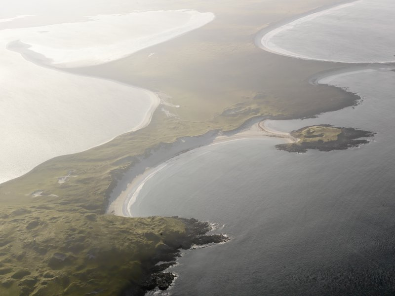 General oblique aerial view of the Udal peninsula, North Uist, taken from the NNE.
