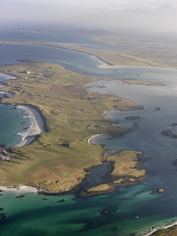 General oblique aerial view of the Isle of Vallay, North Uist, taken from the W.