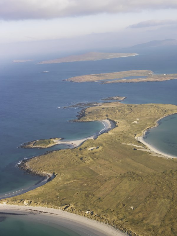 General oblique aerial view of the Udal peninsula, North Uist, taken from the SSW.