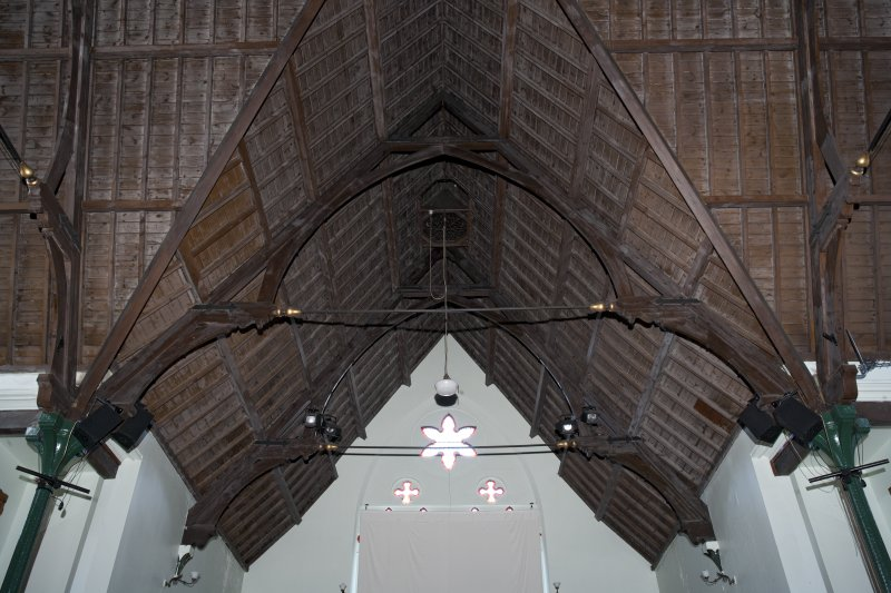 Interior. View of hammer beam roof.