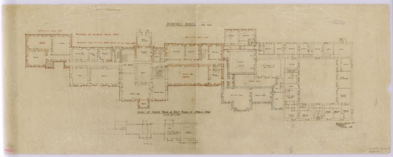Plan of Ground Floor and First Floor at Stable Yard. Title:  Bowhill House. Copy Plan