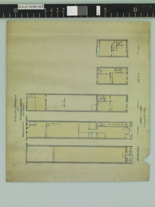 Basement, 1st Floor, 2nd Floor, 3rd and 4th Floor plans. Title:  Plan of Property at 63 Princes Street, Edinburgh