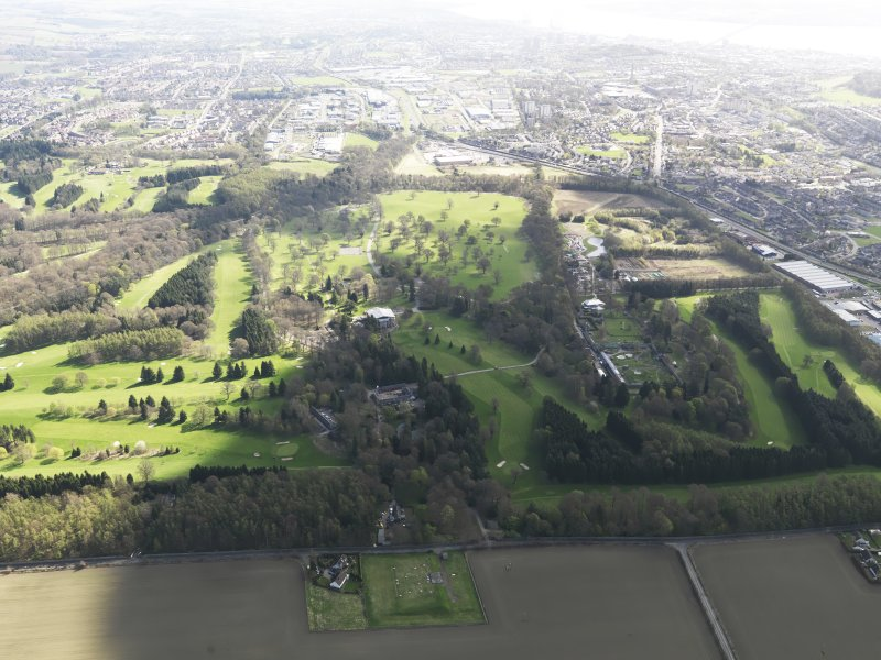 General oblique aerial view of Downfield Golf Course  and Camperdown Golf Course, taken from the W.