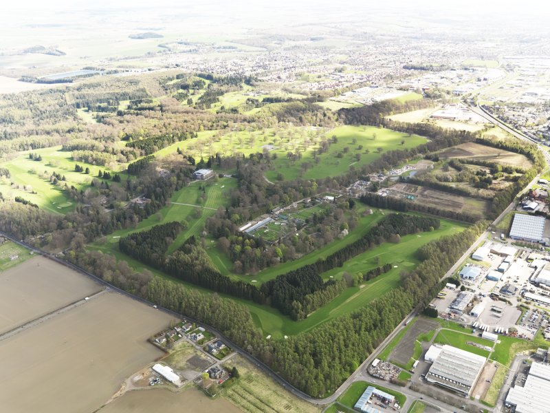 Oblique aerial view of Camperdown Golf Course, taken from the WSW.