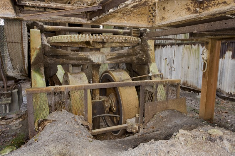 Interior. 'New' Pan Mill building. View from north of Pan Mill. This is an 'Incla' dry grinding, or pan, mill. Versions of these are still made by Craven Fawcett. Modern examples have 5, 6 , 10 tonne grinding rollers depending on the finess required.