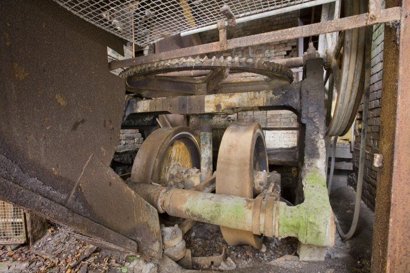 Interior. 'Old '  Incla Pan Mill. View from north west of the Pan Mill rollers and the chute from the later crusher above.