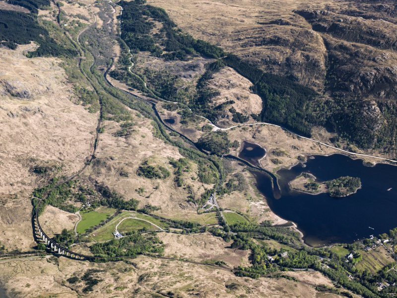 General oblique aerial view of the Glenfinnan Viaduct and Monument, taken from the NW.