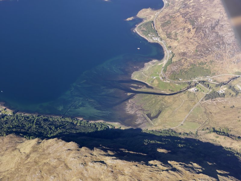 Oblique aerial view of the remains of a fish trap near Shiel Bridge at the head of Loch Duich, taken from the SE.