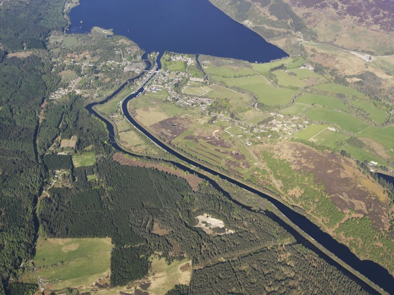 General oblique aerial view of the Caledonian Canal at Fort Augustus, taken from the W.