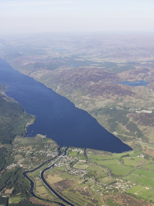 General oblique aerial view of the Caledonian Canal, Fort Augustus and Loch Ness, taken from the W.