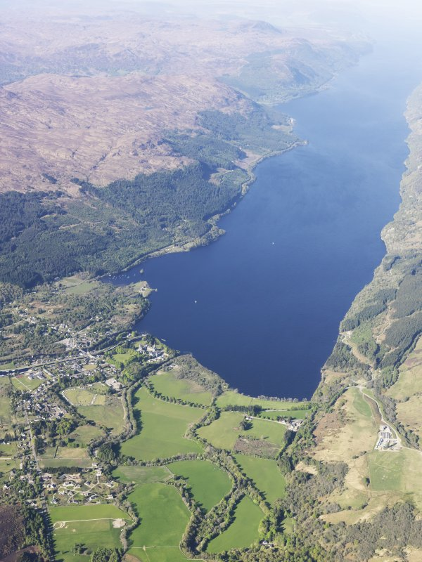 General oblique aerial view of the Caledonian Canal, Fort Augustus and Loch Ness, taken from the SSW.