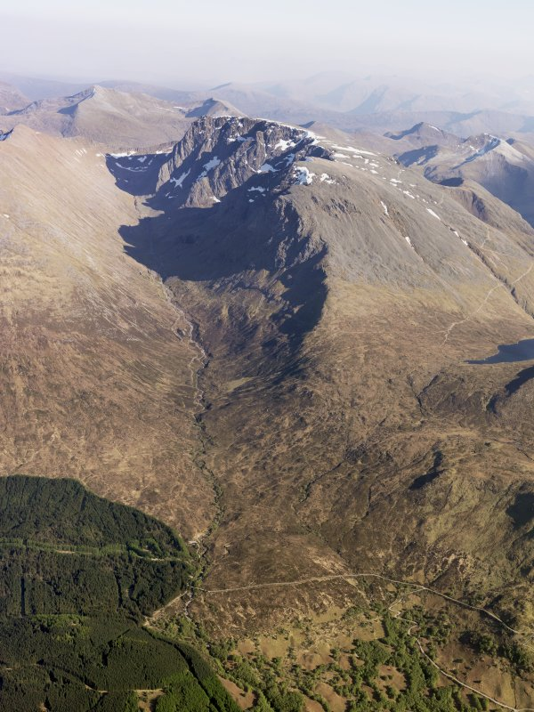 General oblique aerial view of Allt a Mhuillin and Ben Nevis, taken from the NW.