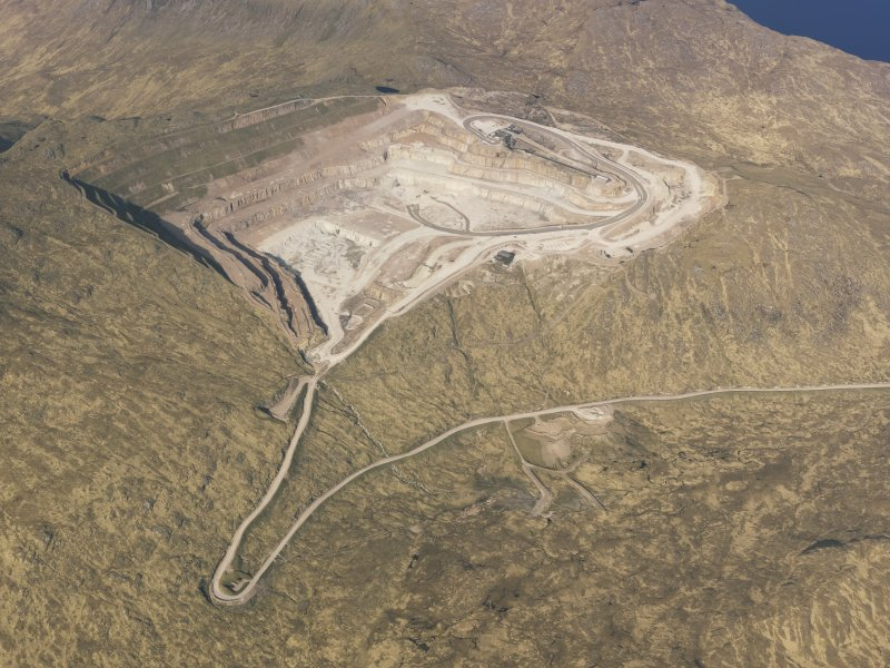 Oblique aerial view of Glensanda-Meall na h-Easaiche quarry, taken from the WSW.