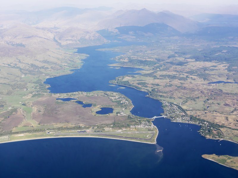 General oblique aerial view of Connel airfield and Loch Etive, taken from the W.