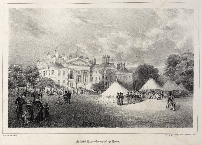 Engraving of Dalkeith House with royal garden party on lawns. Insc.:'Dalkeith Palace the day of the Levee.'