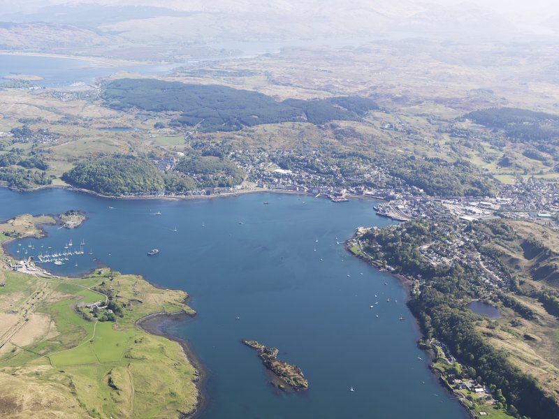 General oblique aerial view of Oban and the Sound of Kerrera, taken from the WSW.