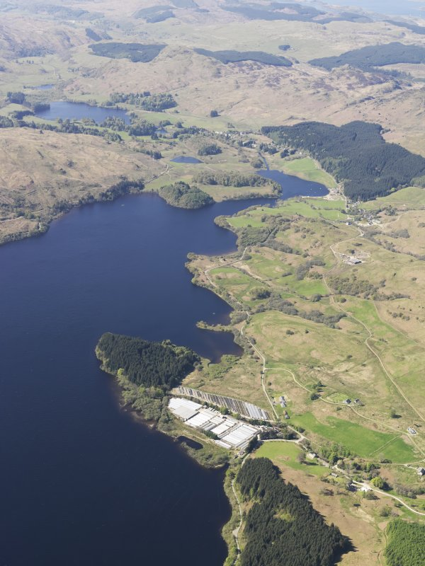 General oblique aerial view of Liever Island and the glass houses Loch Awe, taken from the ENE.