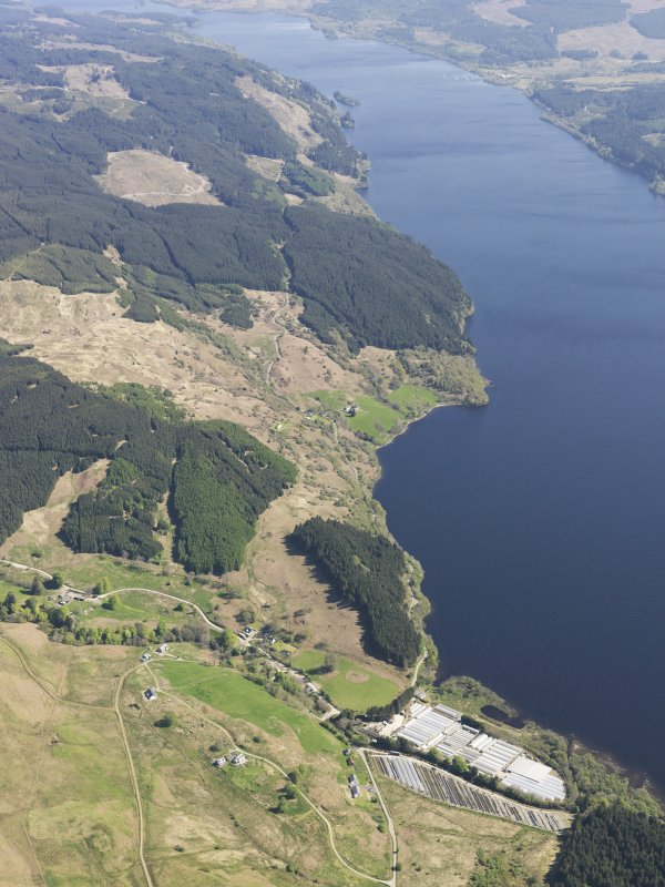 General oblique aerial view of Loch Awe with the glass houses in the foreground, taken from the WSW.