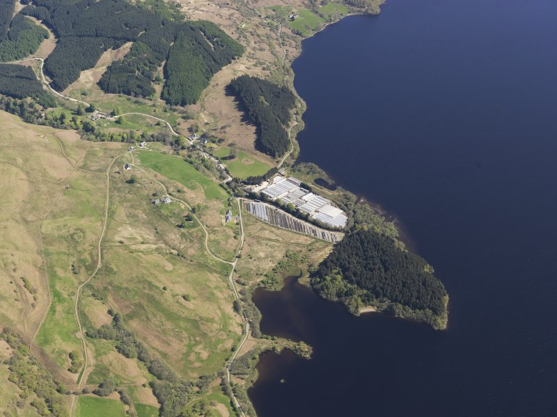 Oblique aerial view of Liever Island and the glass houses, Loch Awe, taken from the WSW.