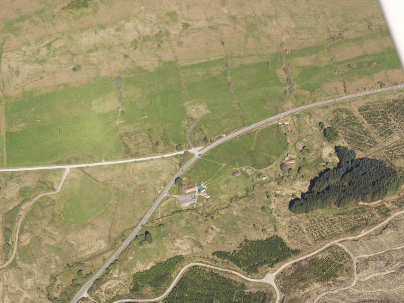 Oblique aerial view of Auchindrain Open-Air Museum, taken from the SSE.