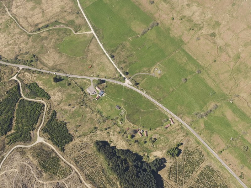 Oblique aerial view of Auchindrain Open-Air Museum, taken from the E.