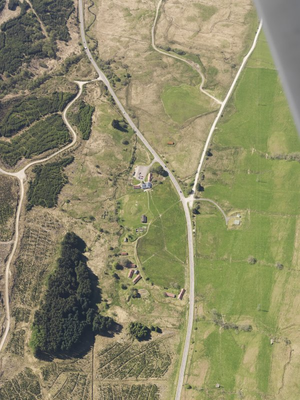 Oblique aerial view of Auchindrain Open-Air Museum, taken from the NE.