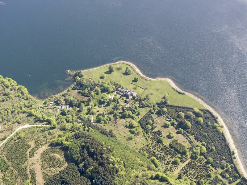 Oblique aerial view of Minard Castle, taken from the WNW.
